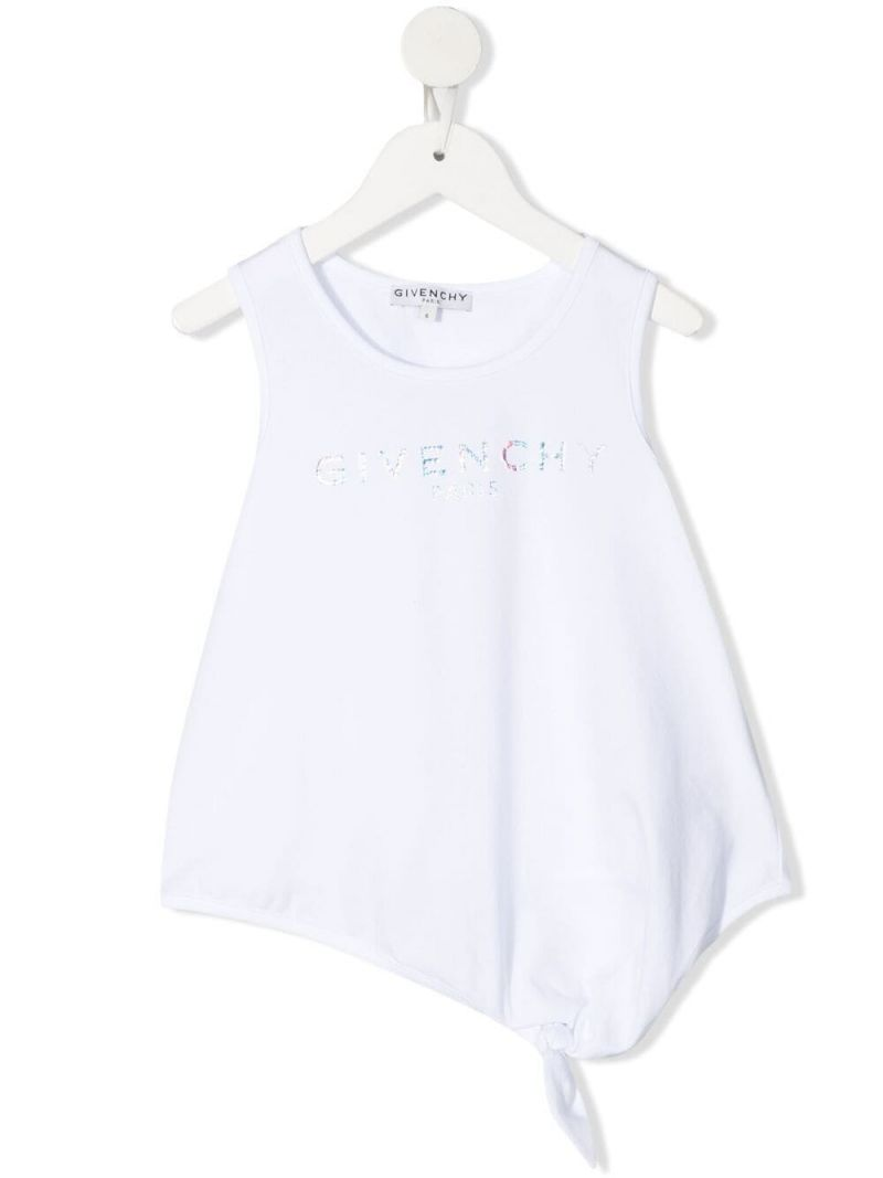 GIVENCHY KIDS: logo print stretch cotton top Color White_1