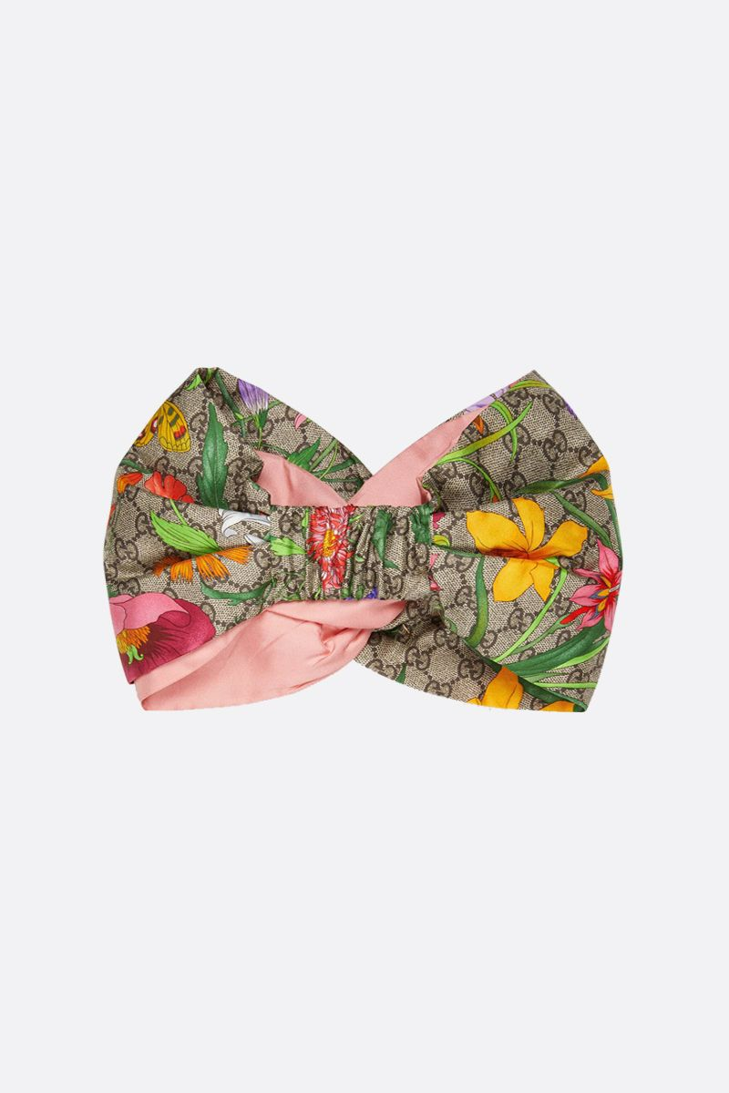 GUCCI: GG Flora print silk headband Color Multicolor_2