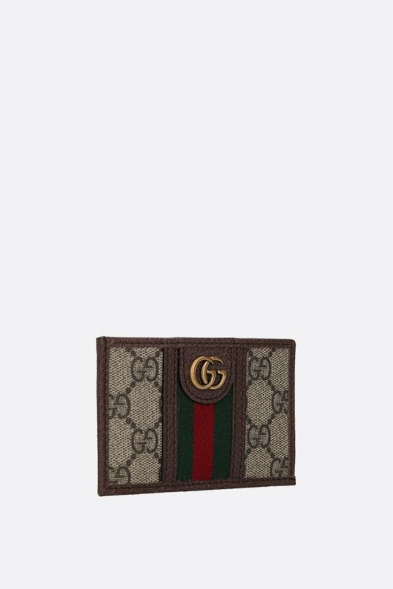 GUCCI: Ophidia GG Supreme canvas and leather card case Color Brown_2