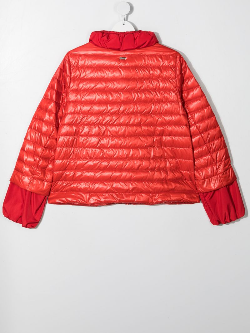 HERNO KIDS: logo-detailed nylon down jacket Color Red_2