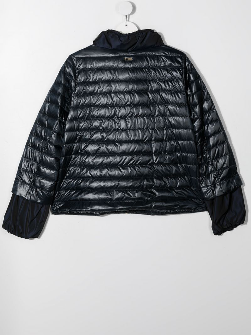 HERNO KIDS: logo-detailed nylon down jacket Color Blue_2