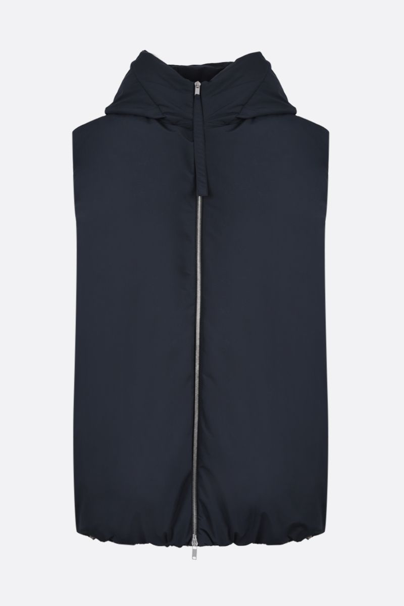 JIL SANDER: oversized nylon sleeveless down jacket Color Blue_1