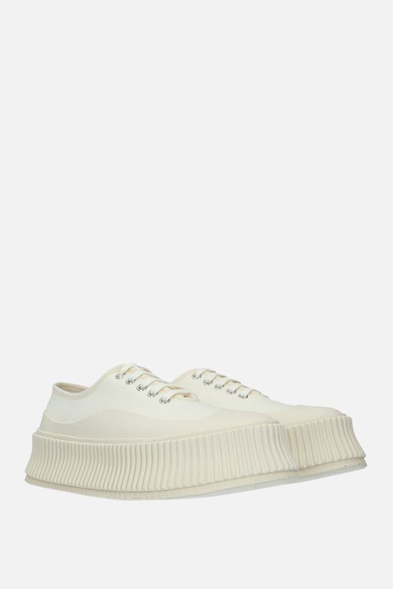 JIL SANDER: canvas and rubber low-top sneakers Color White_2