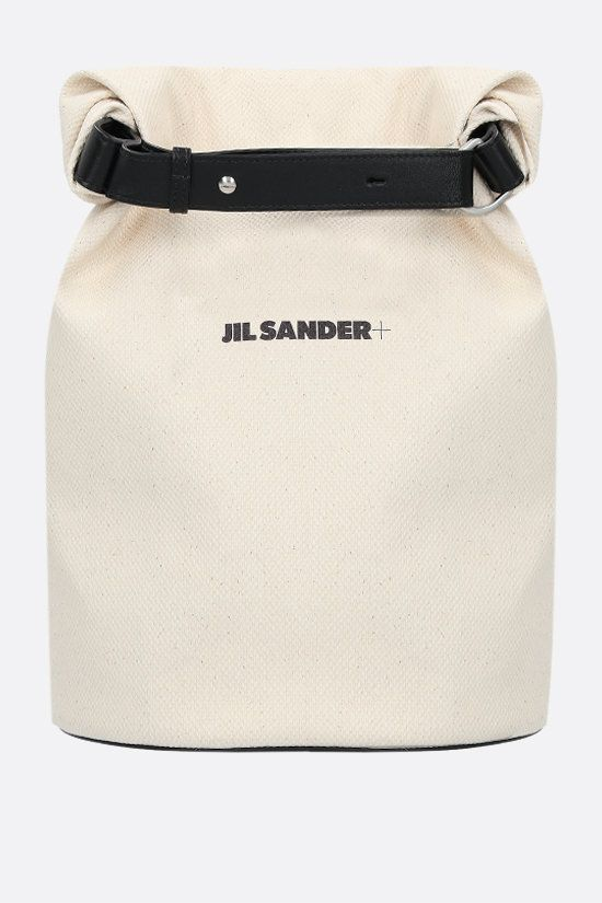 JIL SANDER: logo print canvas backpack Color Neutral_1