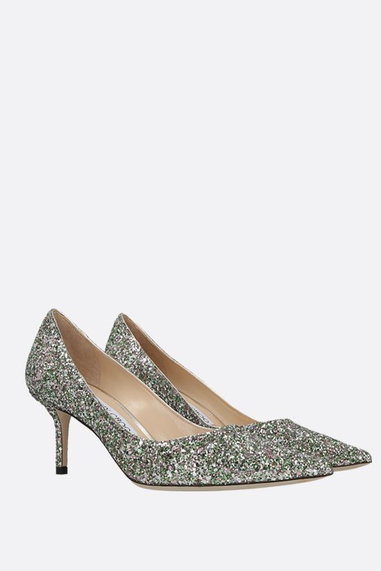 JIMMY CHOO: Love glitter fabric pumps Color Green_2