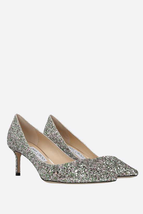JIMMY CHOO: Romy glitter fabric pumps Color Green_2