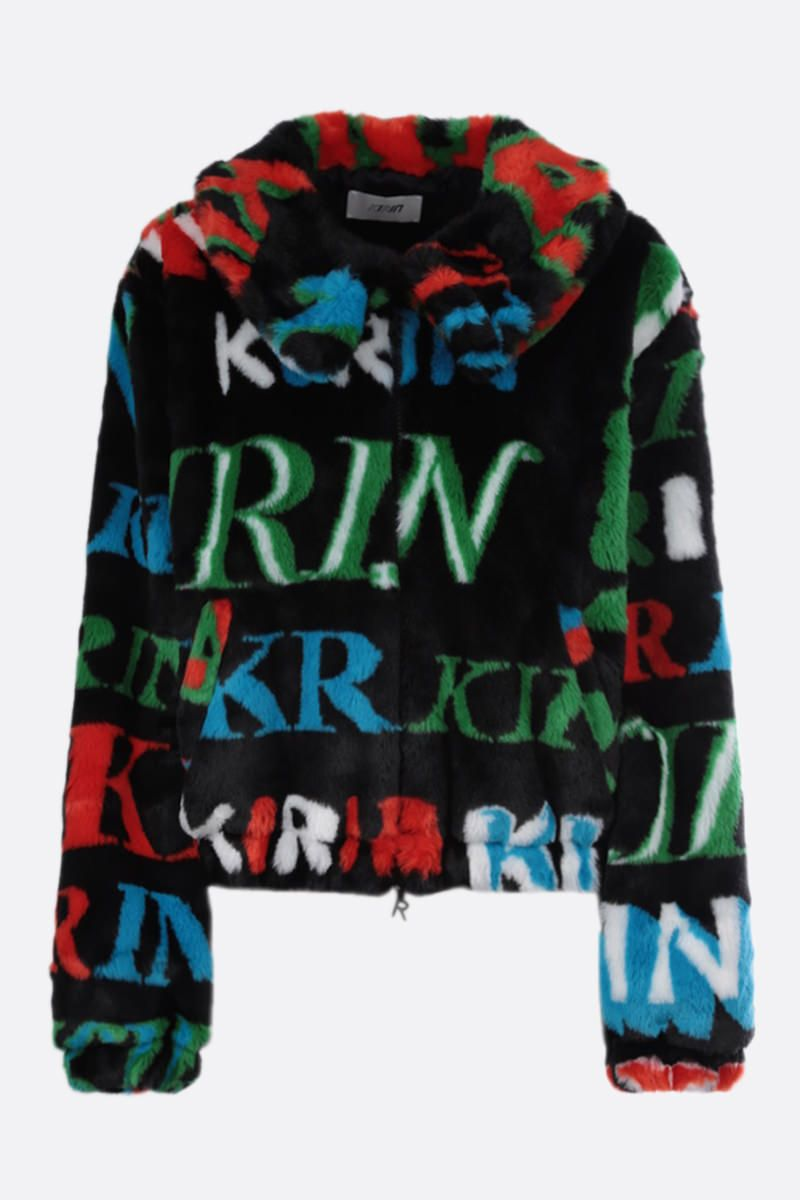 KIRIN: logo print faux fur full-zip jacket Color Multicolor_1