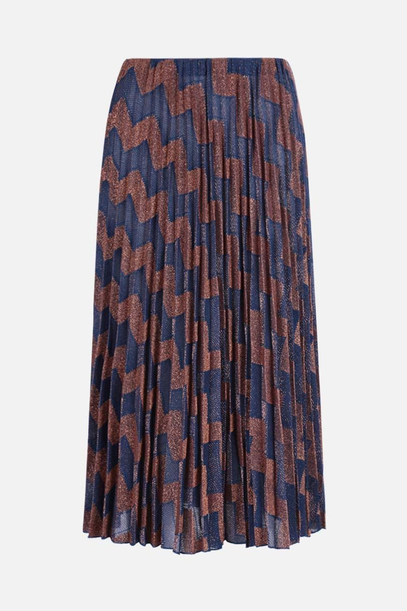 M MISSONI: zigzag-motif lightweight knit pleated skirt Color Multicolor_1