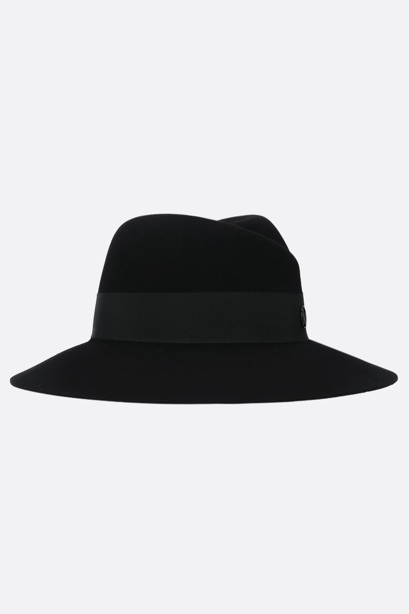 MAISON MICHEL: Virginie wool felt fedora hat Color Black_2