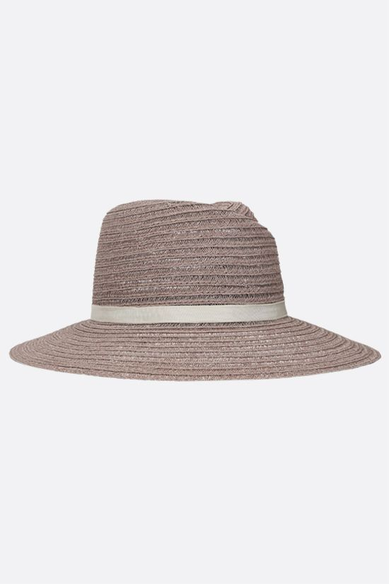 MAISON MICHEL: Virginie straw fedora hat Color Neutral_2