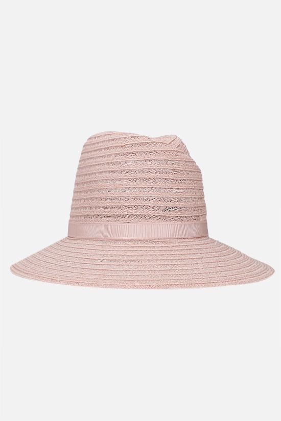 MAISON MICHEL: Virginie straw fedora hat Color Pink_2