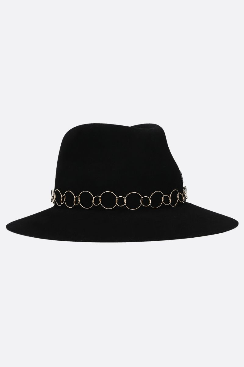 MAISON MICHEL: Henrietta felt fedora hat Color Black_2