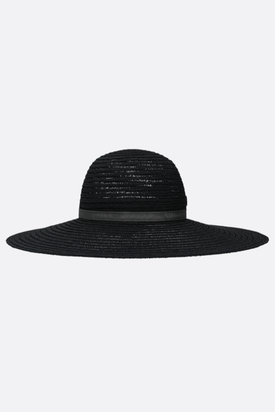 MAISON MICHEL: Blanche straw wide-brim hat Color Black_2