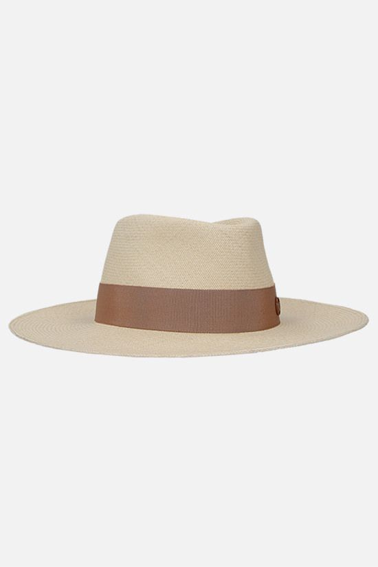 MAISON MICHEL: Charles straw fedora hat Color Neutral_2