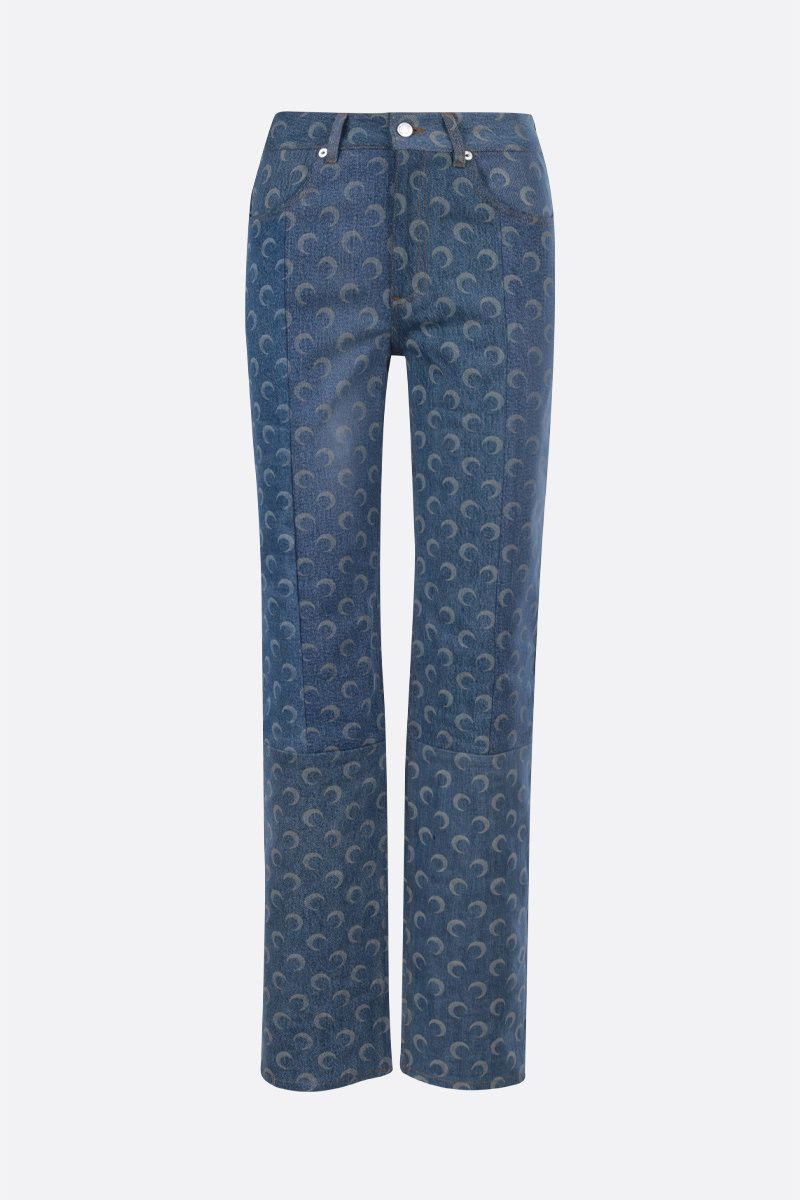 MARINE SERRE: Moon print slim-fit jeans Color Blue_1