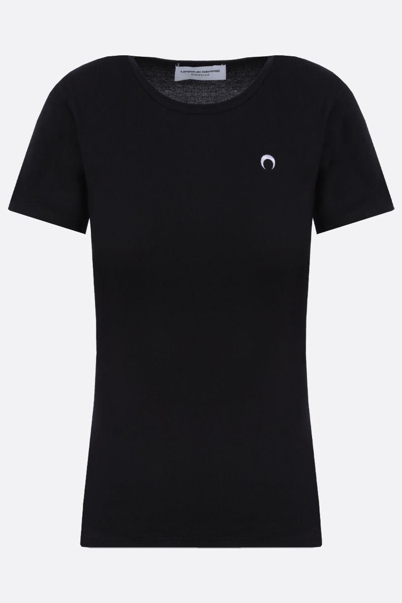 MARINE SERRE: Moon embroidered cotton t-shirt Color Black_1