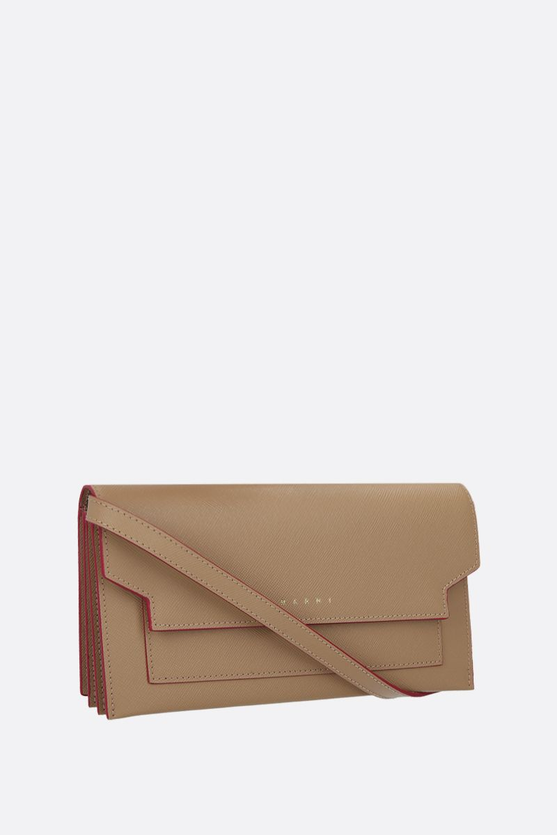 MARNI: saffiano leather strap wallet Color Neutral_2