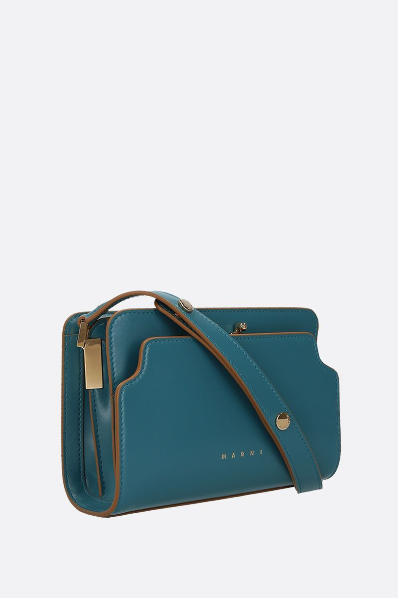 MARNI: Trunk mini smooth leather shoulder bag Color Blue_2