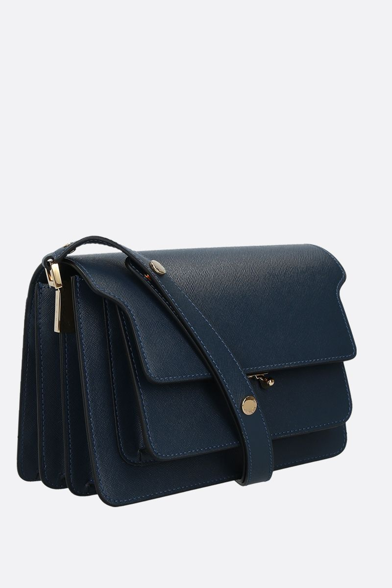 MARNI: Trunk medium shoulder bag in saffiano leather Color Blue_2