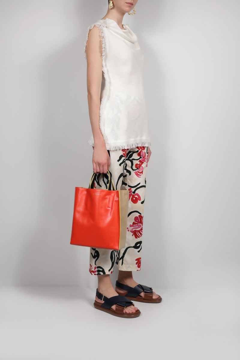 MARNI: Museo Soft smooth leather shopping bag Color Orange_2