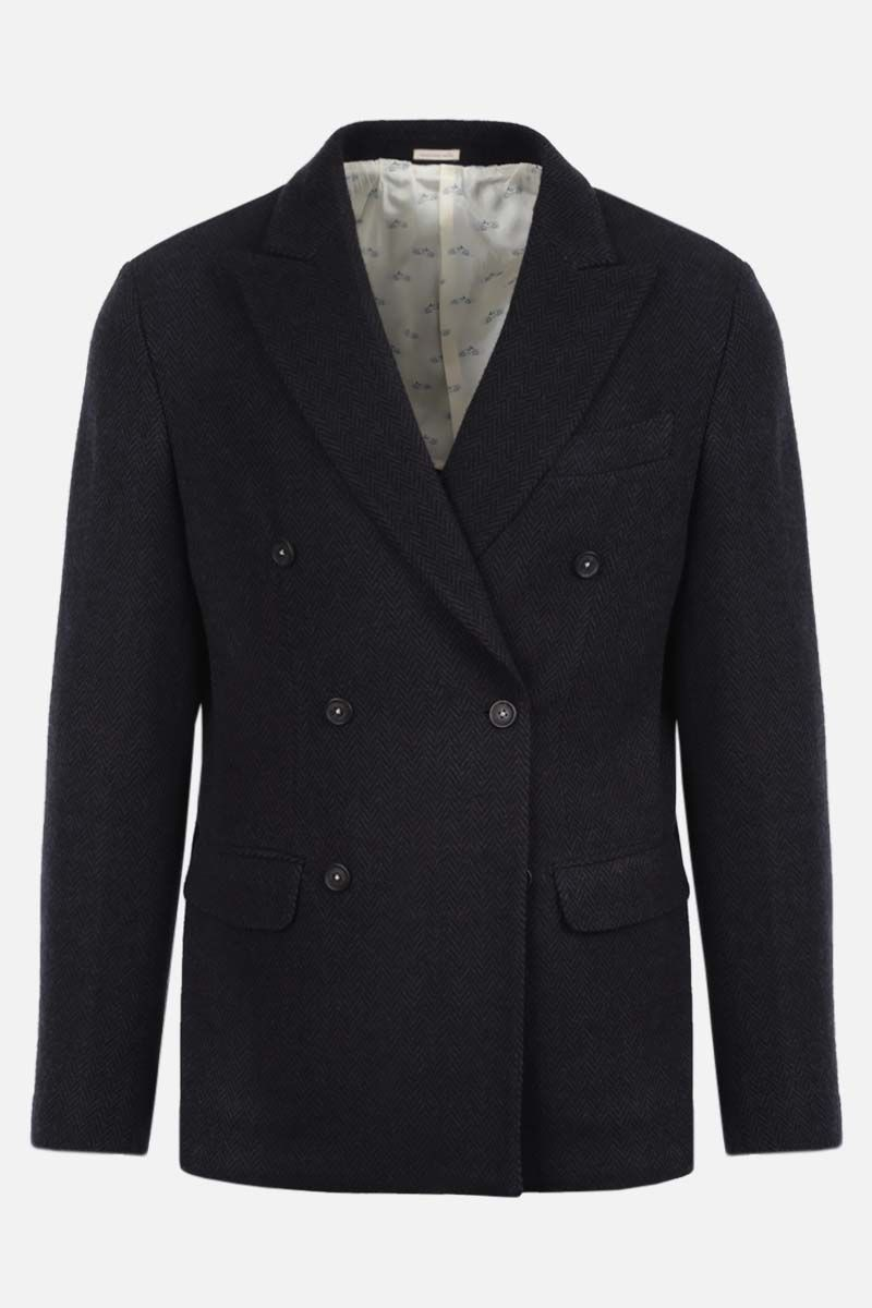 MASSIMO ALBA: herringbone wool double-breasted jacket Color Blue_1