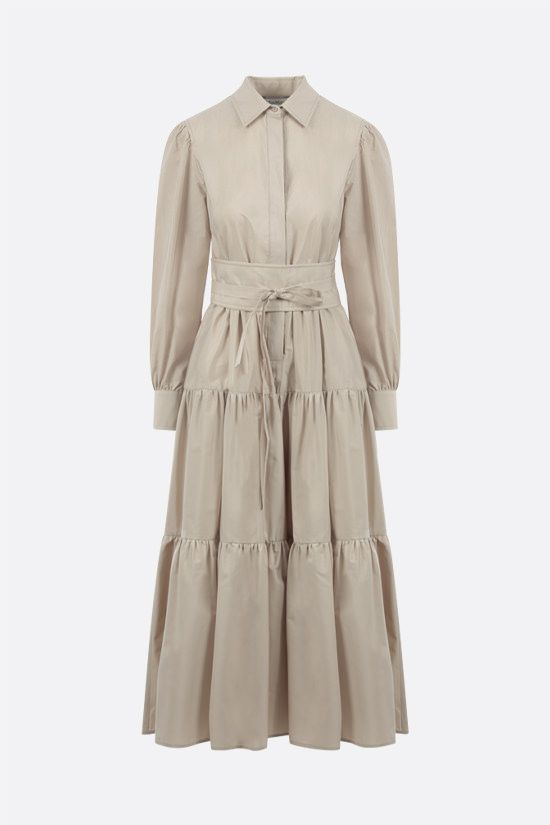 MAX MARA: Bergen cotton flounced dress Color Neutral_1