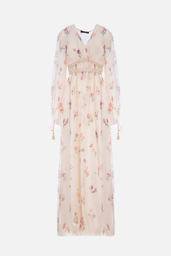 MAX MARA: Gettone floral silk long dress Color White_1