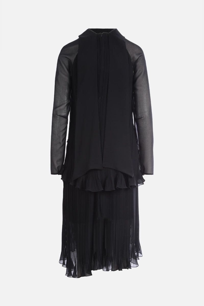 MAX MARA: Nada georgette pleated flounced dress Color Black_2