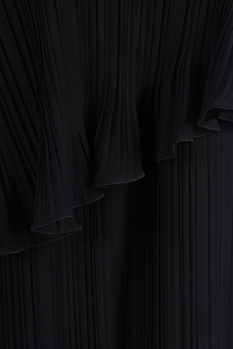 MAX MARA: Nada georgette pleated flounced dress Color Black_4