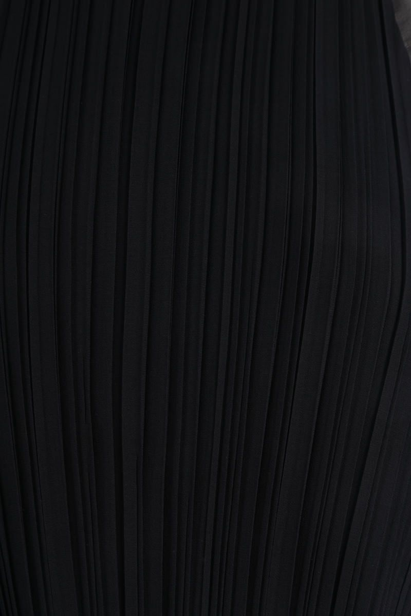 MAX MARA: Nada georgette pleated flounced dress Color Black_5