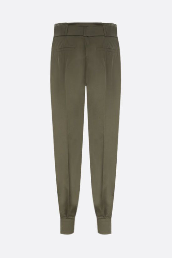 MAX MARA: Eburnea stretch cotton pants with Color Green_2