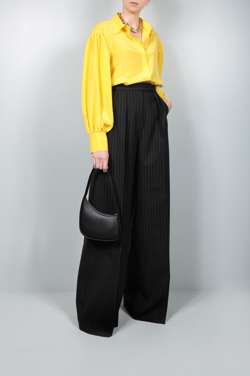 MAX MARA: Orsola pinstriped wool canvas wide-leg pants Color Black_2