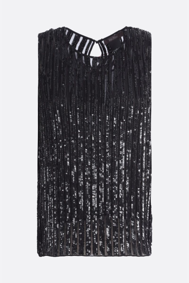 MAX MARA: Asia sequinned georgette sleeveless top Color Black_1