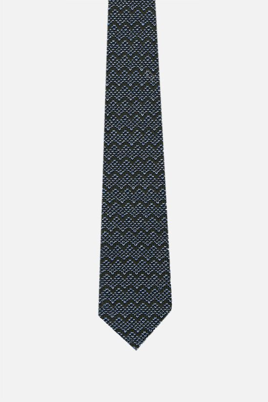 MISSONI: zig zag motif cotton silk knit tie Color Multicolor_1