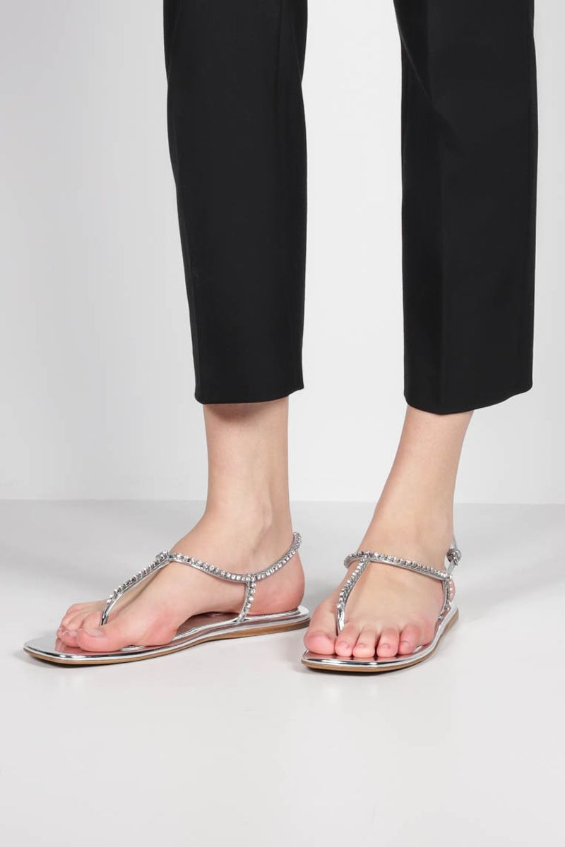 MIU MIU: crystal-embellished thong sandals in Metal Tech fabric Color Silver_2