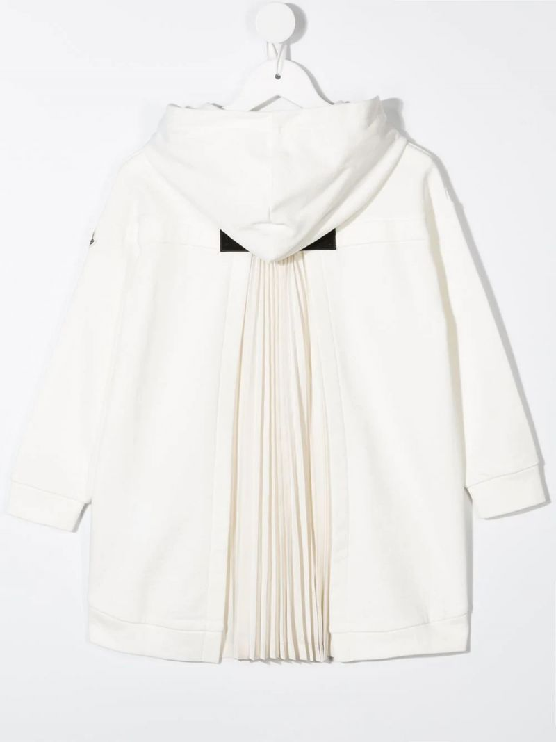 MONCLER KIDS: pleated detail cotton hoodie Color White_2