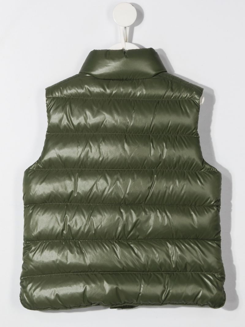 MONCLER KIDS: laquè nylon sleeveless down jacket Color Brown_2