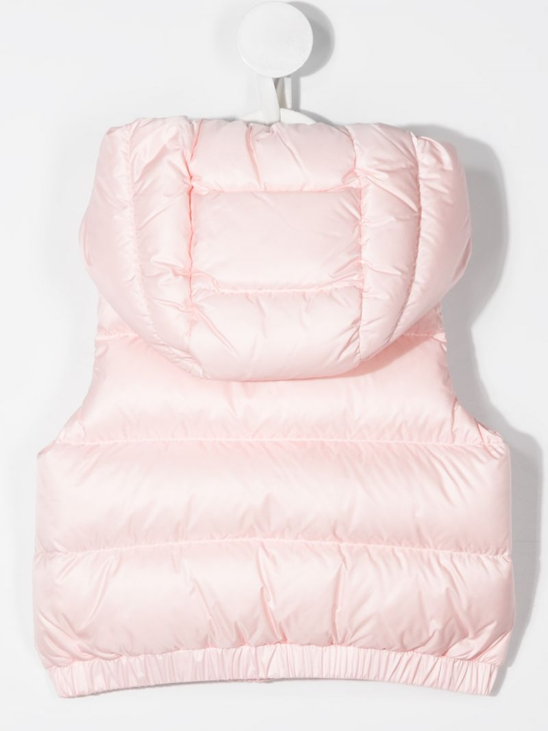 MONCLER KIDS: piumino smanicato in nylon patch logo Colore Rosa_2