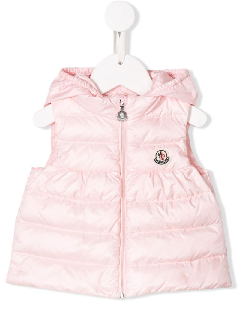 MONCLER KIDS: New Suzette nylon sleeveless down jacket Color Pink_1