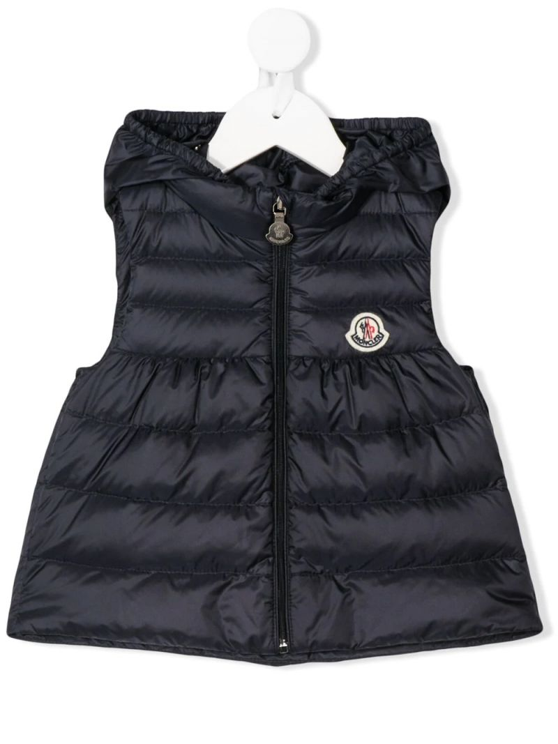 MONCLER KIDS: New Suzette nylon sleeveless down jacket Color Blue_1