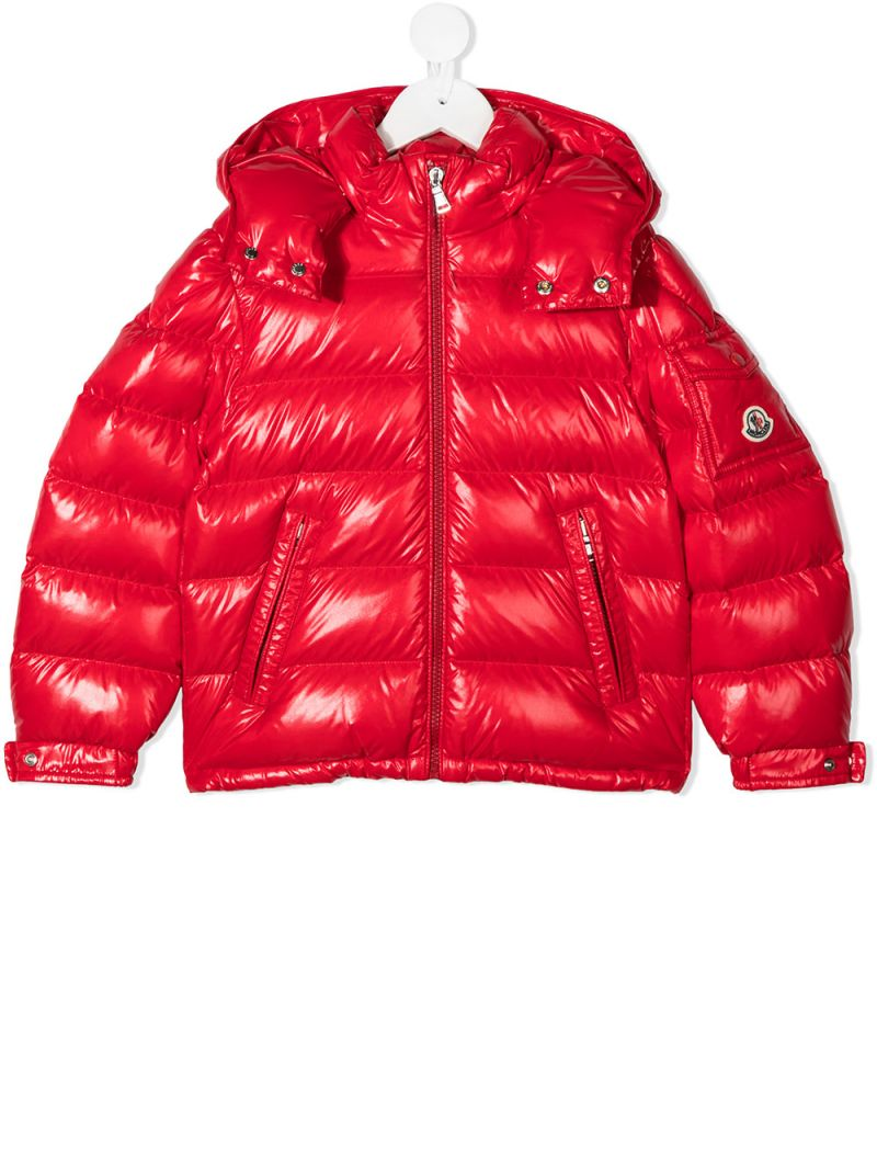 MONCLER KIDS: New Maya laquè nylon down jacket Color Red_1