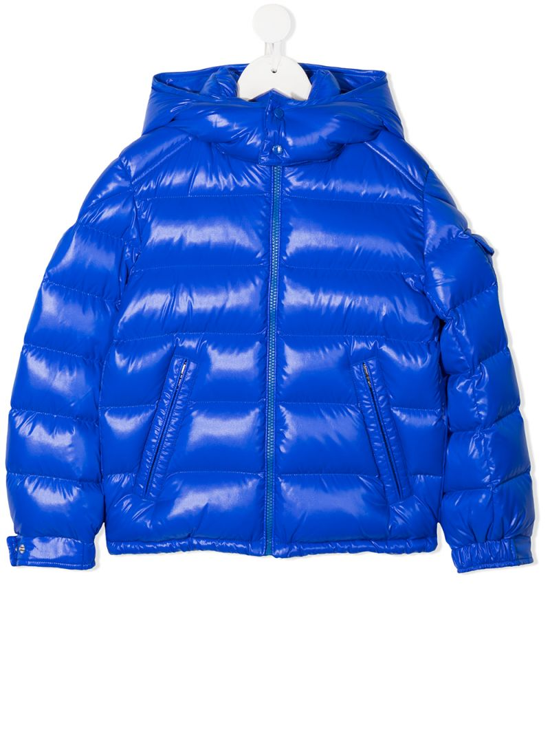 MONCLER KIDS: New Maya laquè nylon down jacket Color Blue_1