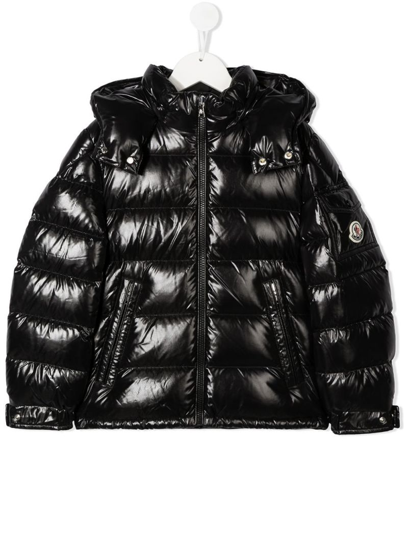 MONCLER KIDS: New Maya laquè nylon down jacket Color Black_1