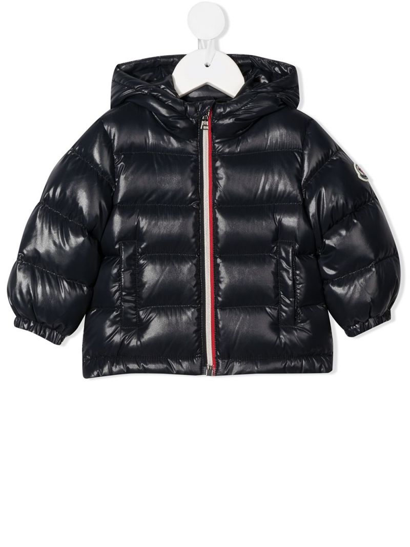 MONCLER KIDS: logo patch laquè nylon down jacket Color Blue_1