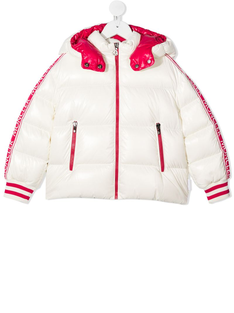 MONCLER KIDS: Azzurra laquè nylon down jacket Color White_1