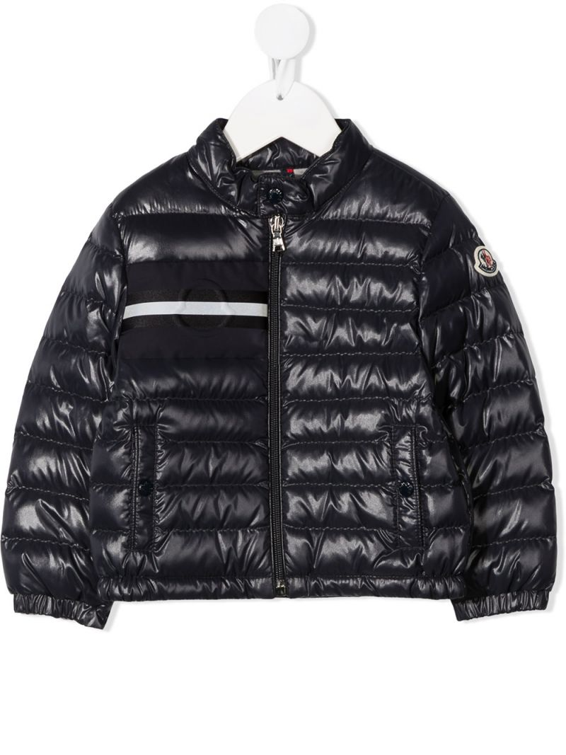 MONCLER KIDS: Dumon laquè nylon down jacket Color Blue_1