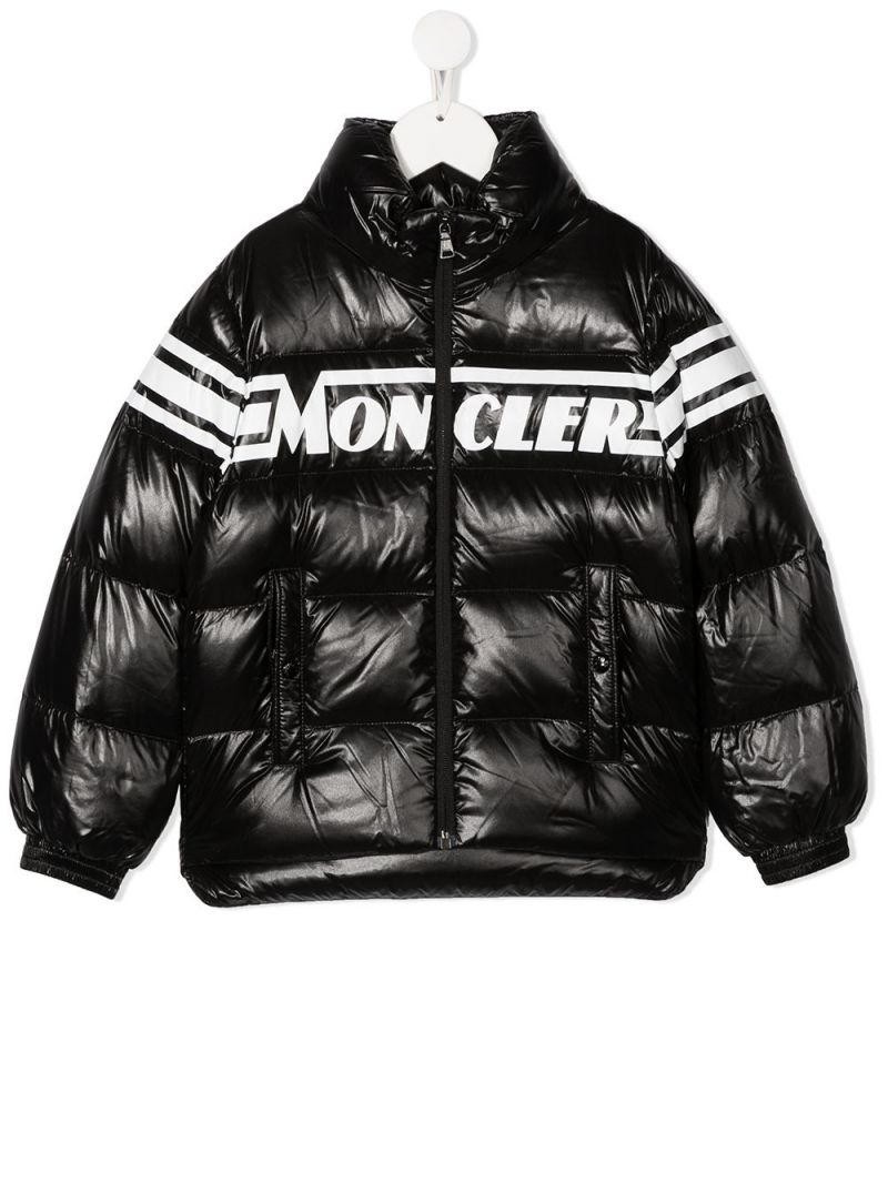 MONCLER KIDS: Saise laquè nylon down jacket Color Black_1