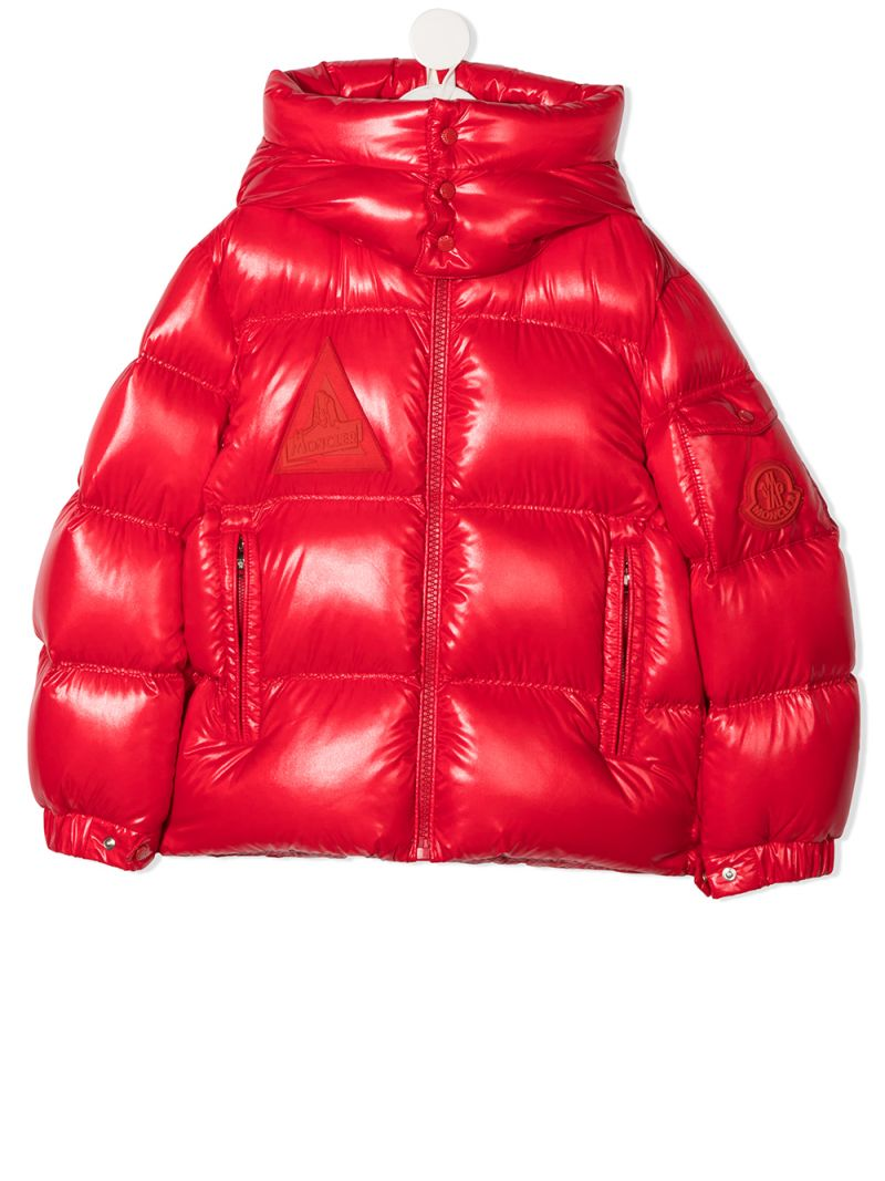 MONCLER KIDS: Ecrins laquè nylon down jacket Color Red_1