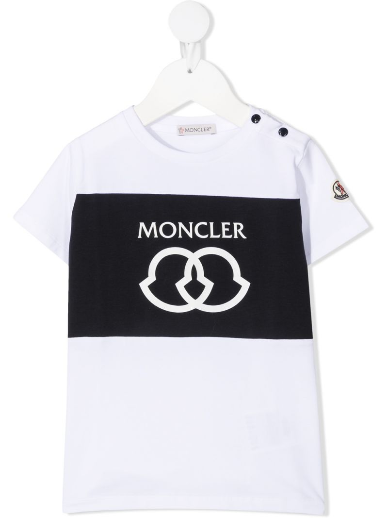 MONCLER KIDS: logo print cotton t-shirt Color White_1