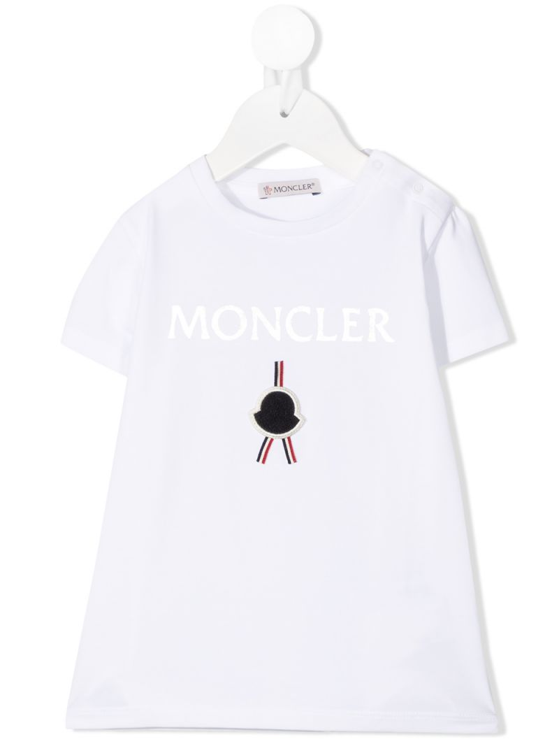 MONCLER KIDS: Moncler print cotton t-shirt Color White_1
